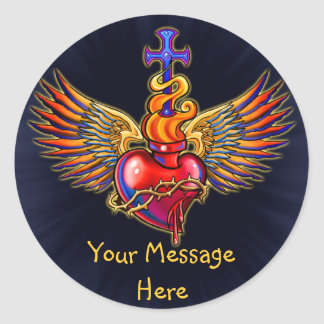 Conception sacrée d'ailes d'ange de coeur sticker rond