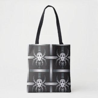 conception squelettique effrayante d'araignée de tote bag
