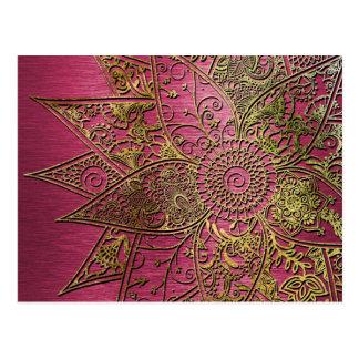 Conception tirée par la main de henné à la mode cartes postales