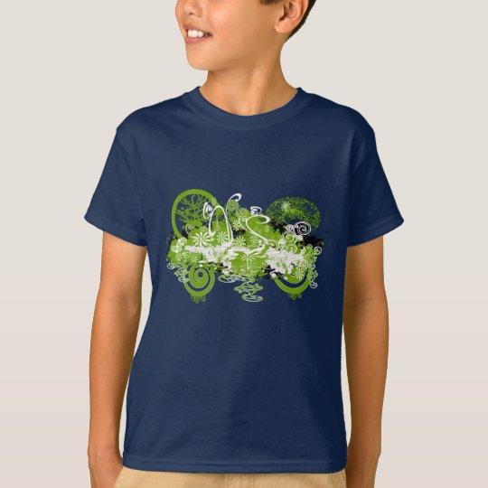 Conception tourbillonnante de fleur t-shirt