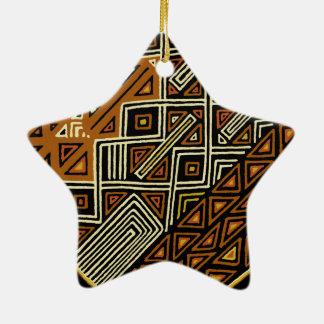 Conception tribale africaine de Kuba Ornement Étoile En Céramique