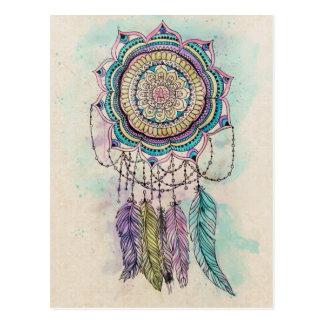 conception tribale de mandala de dreamcatcher de carte postale