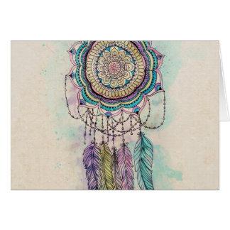 conception tribale de mandala de dreamcatcher de cartes de vœux