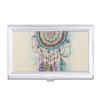 conception tribale de mandala de dreamcatcher de étui pour cartes de visite