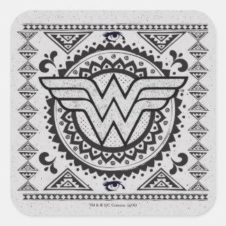 Conception tribale spirituelle de femme de sticker carré