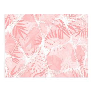 Conception tropicale rose douce abstraite carte postale