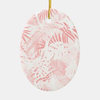 Conception tropicale rose douce abstraite ornement ovale en céramique