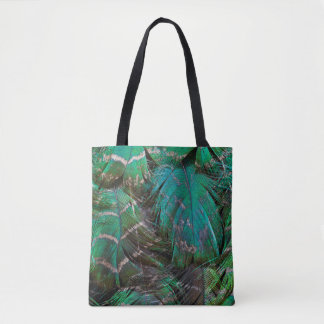 Conception verte de plume de paon tote bag