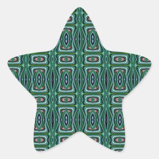 Conception verte de tissu de Natif américain Autocollants En Étoile