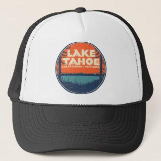 Conception vintage de décalque de voyage du lac casquette
