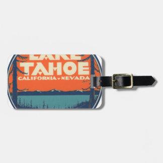 Conception vintage de décalque de voyage du lac étiquette à bagage