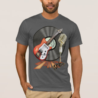 Conception vintage de guitare et de microphone t-shirt