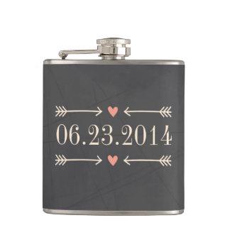 Conception vintage de jour du mariage de style de flasques