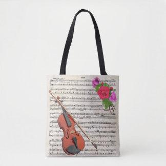 Conception vintage de musique de violon et de tote bag