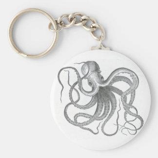 Conception vintage de poulpe nautique de steampunk porte-clé rond