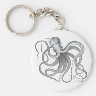 Conception vintage de poulpe nautique de steampunk porte-clés
