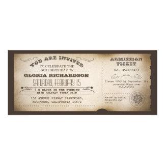 conception vintage de typographie de billet d anni cartons d'invitation