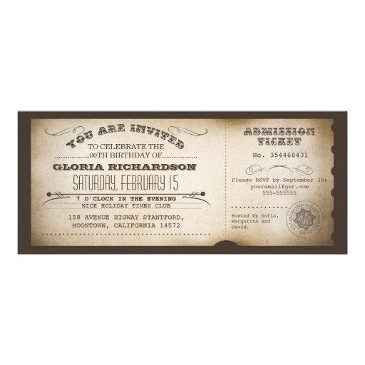 conception vintage de typographie de billet d'anni cartons d'invitation