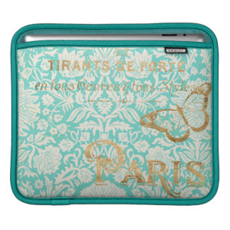 Conception vintage d'or de Paris avec le papillon Housses iPad