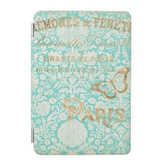 Conception vintage d'or de Paris avec le papillon Protection iPad Mini