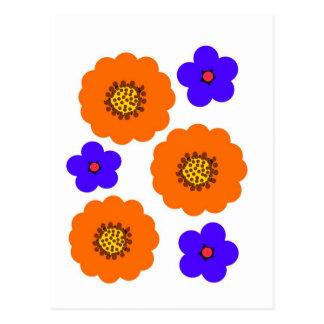 Conceptions bleues florales d'orange carte postale