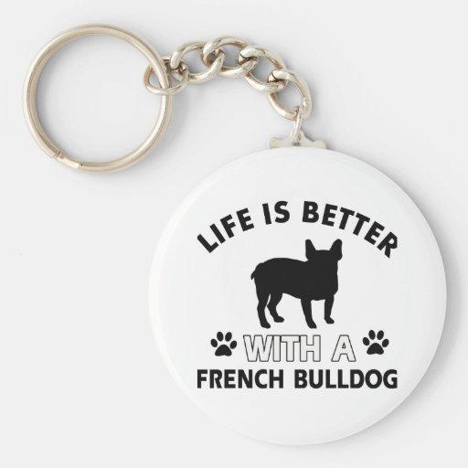 Conceptions de bouledogue français porte-clé