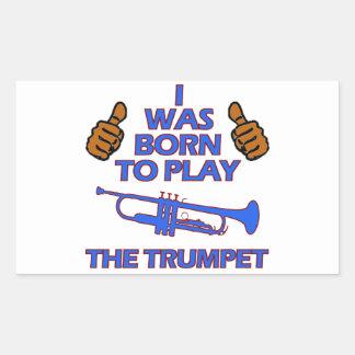 conceptions de musical de trompette sticker rectangulaire