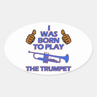conceptions de musical de trompette sticker ovale