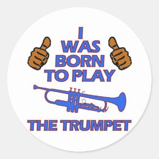 conceptions de musical de trompette sticker rond