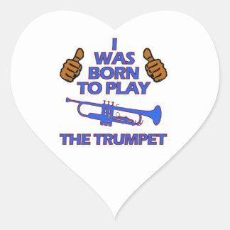 conceptions de musical de trompette sticker cœur