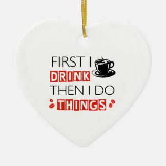Conceptions drôles de café ornement cœur en céramique