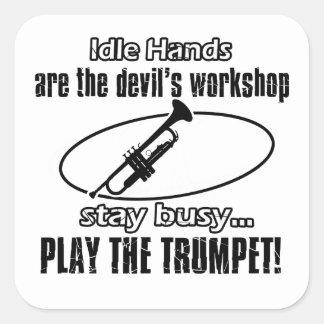 Conceptions fraîches de trompette sticker carré