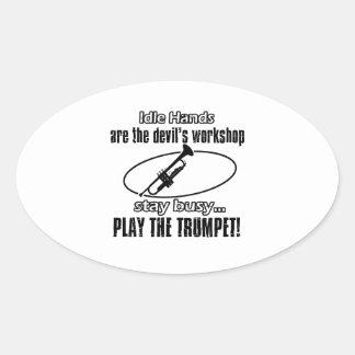 Conceptions fraîches de trompette sticker ovale