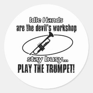 Conceptions fraîches de trompette sticker rond