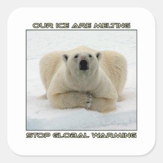 conceptions fraîches d'OURS BLANC ET de Sticker Carré