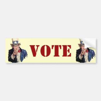 Conceptions patriotiques de VOTE d'Oncle Sam Autocollant De Voiture