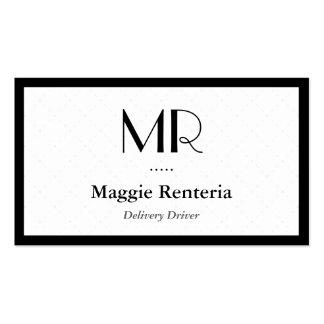 Conducteur de la livraison - monogramme élégant cartes de visite personnelles