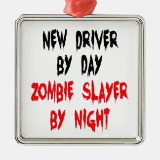 Conducteur de tueur de zombi nouveau ornement carré argenté