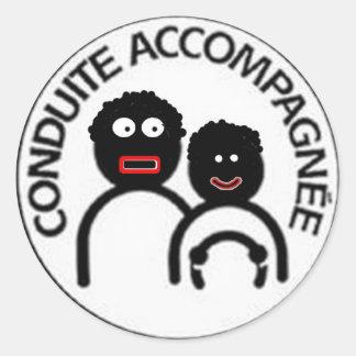 conduite accompagnée sticker rond