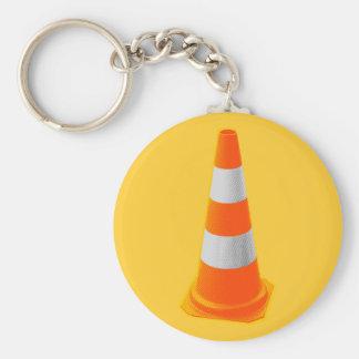Cône du trafic avec les rayures grises porte-clé rond