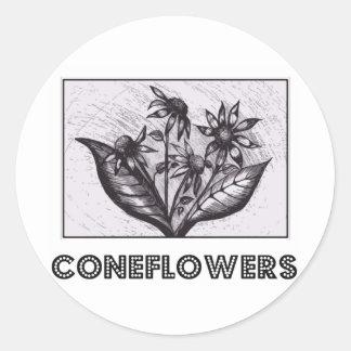 Coneflowers Sticker Rond