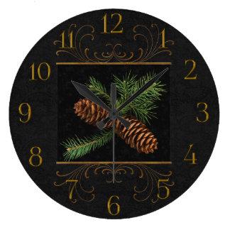 Cônes noirs de pin d'aquarelle de damassé grande horloge ronde