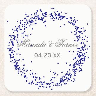 Confettis bleus - dessous de verre faits sur dessous-de-verre carré en papier