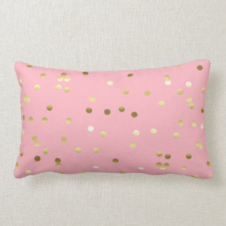 Confettis chics de feuille d'or rose-clair coussin rectangle