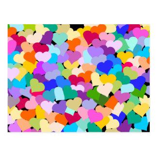 Confettis de coeur d'arc-en-ciel cartes postales