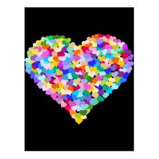 Confettis de coeur d'arc-en-ciel carte postale
