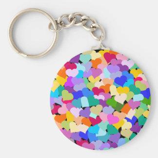 Confettis de coeur d'arc-en-ciel porte-clefs
