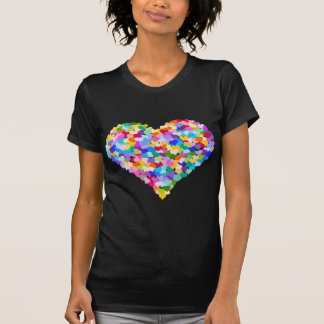 Confettis de coeur d'arc-en-ciel t-shirt