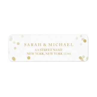 Confettis de feuille d'or de Faux personnalisés Étiquette D'adresse Retour