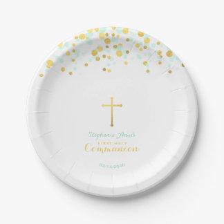 Confettis de menthe et d'or de communion assiettes en papier